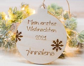 First Christmas Christmas ball personalized, baby Christmas gift, Christmas decoration made of wood, with name, gift tag