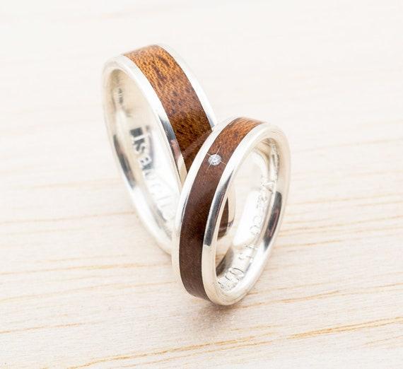 Holz Ringe Eheringe 925 Silber Verlobungsringe Freundschaft Etsy