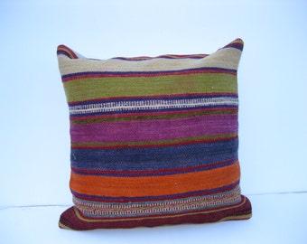 "16"" boho interior turkish cushion throw pillow kilim pillow decorative pillow cover accent pillow outdoor floor sham bohemian deco"