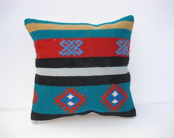 """16""""x16'' turquoise pillows,turquoise cushion cover,turquoise ,red black turquoise kilim pillows,"""