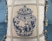 Vintage Blue and White Chinese Porcelain Needlepoint Pillow Chinoiserie Blue Willow
