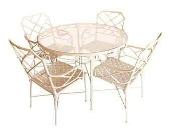 d9b39482c46c Brown Jordan Calcutta Faux Bamboo 5 Piece Round Table   chairs - MCM  Hollywood Regency