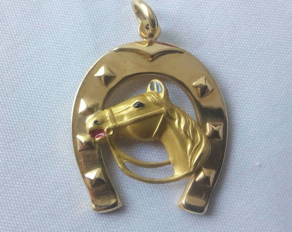 18k Yellow Gold Horseshoe and Horse Pendant - Charm - Free 9k Yellow Gold Chain