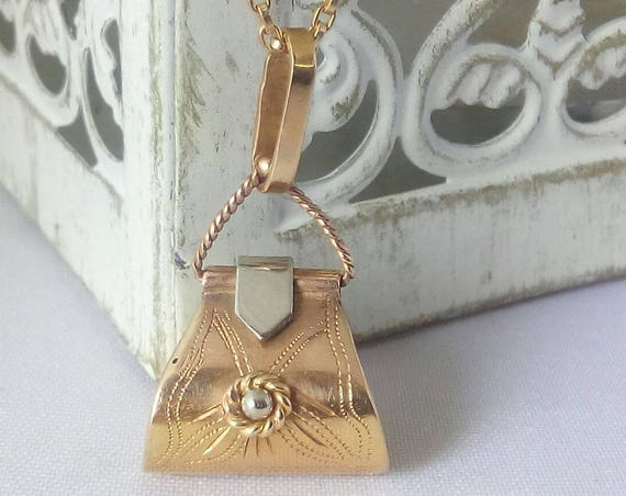 Vintage Handmade 18k Gold Purse Charm - Pendant  - Free 9k gold chain - Gift for Her - Anniversary - Valentines's Day