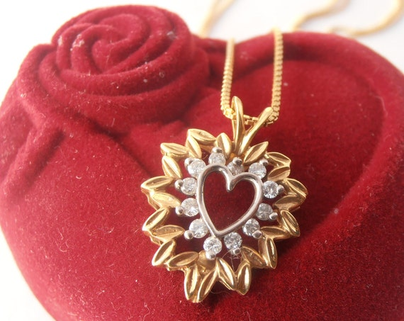 Diamond Heart Necklace -Pendant, 18k Yellow and White Gold with 9k Free Gold Chain - Valentine gift