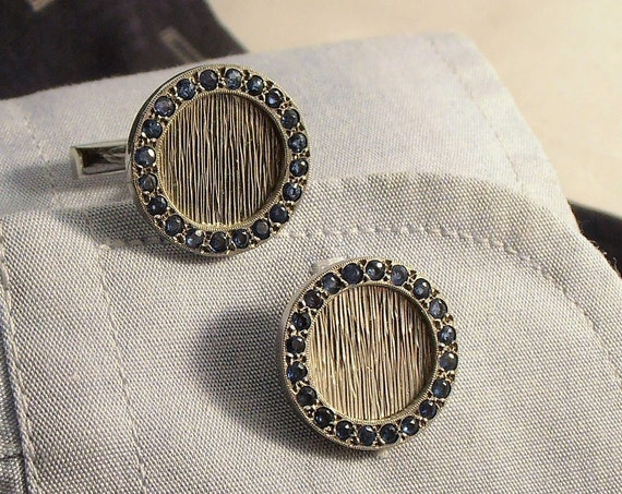 Vintage 18k white gold Cufflinks (cuff links) with Sapphires - Christmas - Valentine's - Wedding -Gift for him