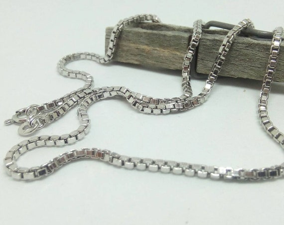 9ct White Gold Box Chain - 9k Yellow Gold Box Chain Necklace 50cm Unisex