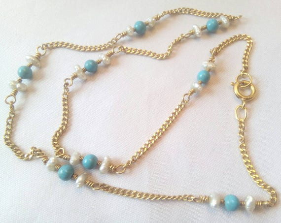 Vintage 14k yellow gold necklace with pearl and turquoise beads - Birthday - Anniversary - Christmas Gift