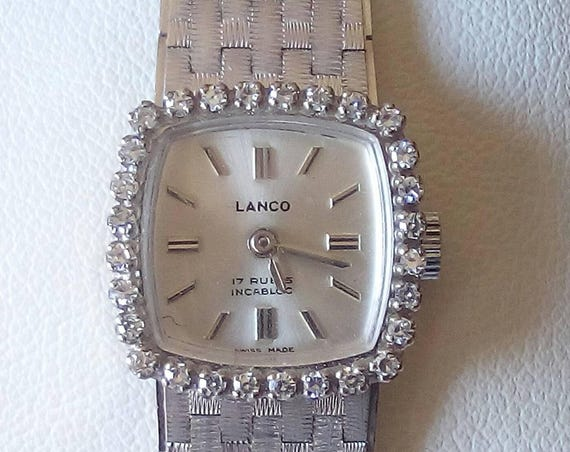 Vintage Swiss Lanco 18k gold 17 jewels incabloc ladies watch with 0,30ct diamonds - wristwatch - Christmas Gift - Gift for Her