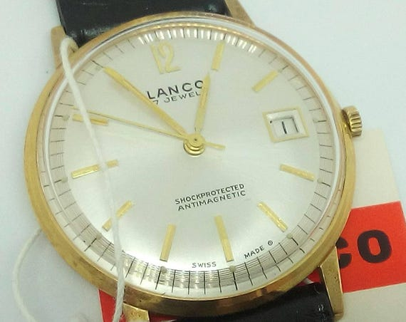 Vintage Lanco Swiss watch 200 17j NIB with tags men's wristwatch - Gift for him - Christmas Gift