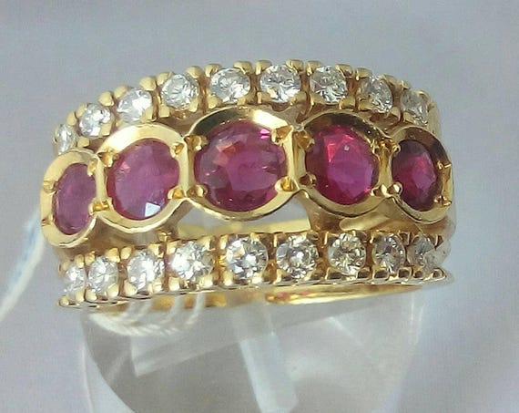 Vintage 18k Yellow Gold Ruby - Rubies and Diamonds Band  Ring Size 6.5 - Engagement Ring - Anniversary - Wedding - Valentine's
