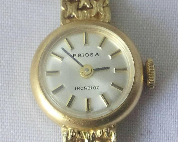 Vintage Swiss Priosa 14k gold 17 jewels incabloc ladies watch - wristwatch - Christmas Gift - Gift for Her