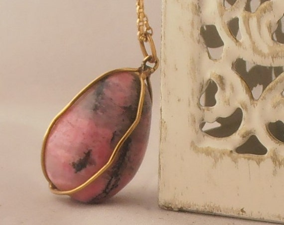 Vintage 18K Yellow Gold Rhodonite Egg Handmade Pendant - Necklace - FREE 9K Gold Chain - Perfect Gift - Anniversary - Mother's Day -Easter