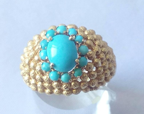 Vintage 18k Yellow Gold Ring with Natural Turquoises - Statement Ring - Size 7 - Birthday Gift - Anniversary Gift