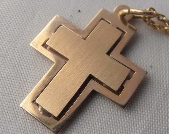 Vintage 14k Yellow Gold Cross - Charm - Pendant - Free 9k Gold Chain - Perfect Easter Gift