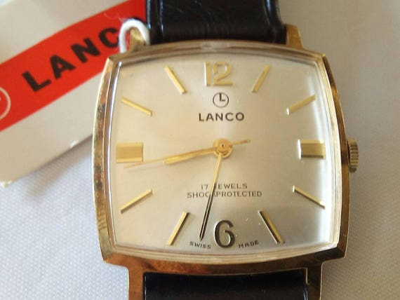 Vintage rare Lanco Swiss watch 17j NIB with tags men's wristwatch - Gift for Him