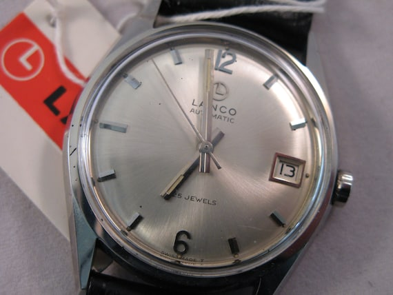 Vintage rare Lanco Swiss watch 700 25j  Automatic New in Box with tags men's wristwatch - Gift for him -Anniversary gift