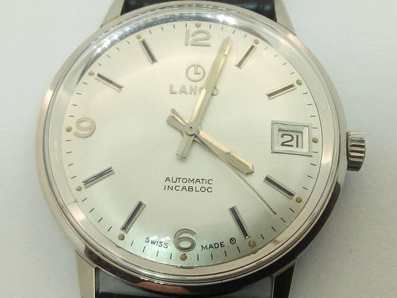 Vintage rare Lanco Swiss watch 1528B-2632 Automatic Incabloc  New in Box with tags men's wristwatch - Gift for him -Anniversary gift