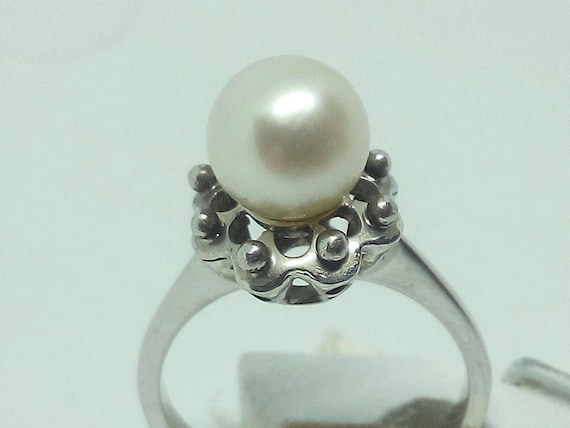 Vintage 18k White Gold 7,5 - 8mm Natural Pearl Ring -Size 5 - Gift for Her - Wedding - Anniversary - Birthday - Valentine's Day