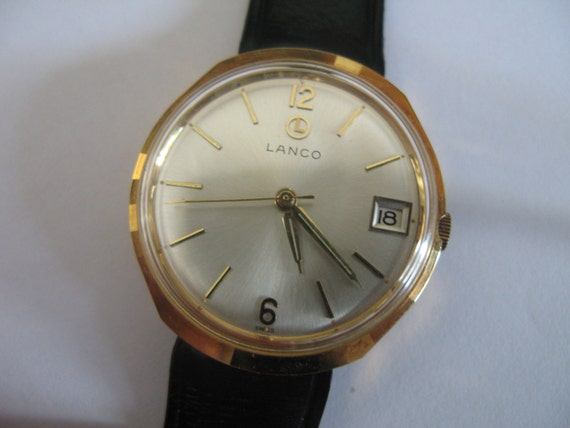 Vintage  Lanco Swiss watch 5457 17j with date display NIB with tags men's wristwatch - Gift for him