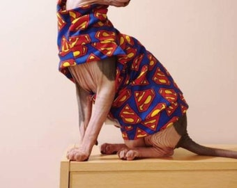 CatDog Clothes Hand made by Sphynx Clothes for small dogs and any breed of cats. PINK Leopard Print One Hole Vest