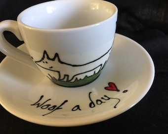 Doggie Hand Painted espresso cup