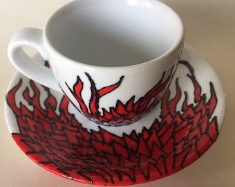 Dragon! Hand painted espresso cup