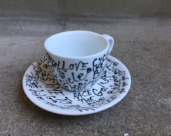 Bike madness! Hand painted espresso cup