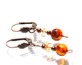 Amber and crystal earring...