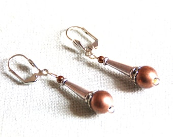 Dangle earrings mother of Pearl antique gold, copper and silver metal