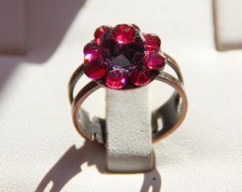 Dark red crystal Adjustable ring