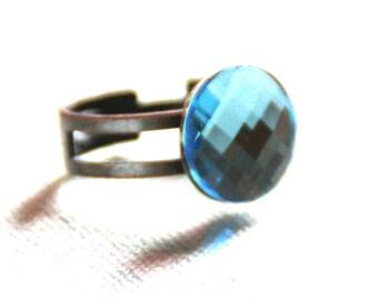 Light blue swarovski crystal Adjustable ring