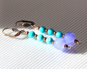 Turquoise earrings, mother of Pearl antique gold, glass and copper metal finishes