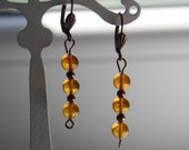 Amber Crystal beads, Pear...