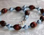 Necklace Pearl blue, Crys...