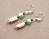 Silver tone and green pea...