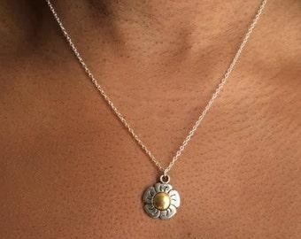 Daisy Necklace, Daisy Pendant Necklace, Boho Necklace,Birthday Gift, British Seller UK