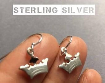 Crown Earrings, Sterling Silver Earrings, Princess Crown Earrings, Dainty Earrings, Birthday Gift