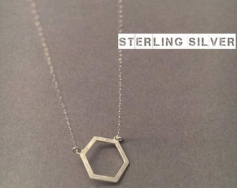 Hexagon Necklace, Sterling Silver Necklace, Silver Hexagon Necklace, Geometric Necklace, Minimal Necklace, UK Seller