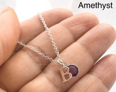 Birthstone Necklace, February Birthstone, Garnet Necklace, Custom Letter Necklace, Initial Necklace, Necklaces for women,Mothers Day Gift