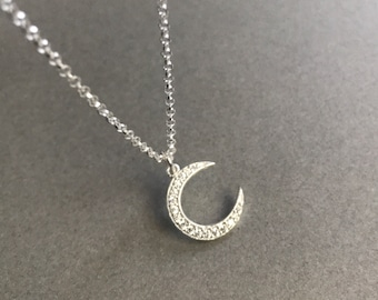 Crystal Moon Necklace Mothers Day Gift Birthday Gift For Her Moon Necklace Crescent Moon Necklace
