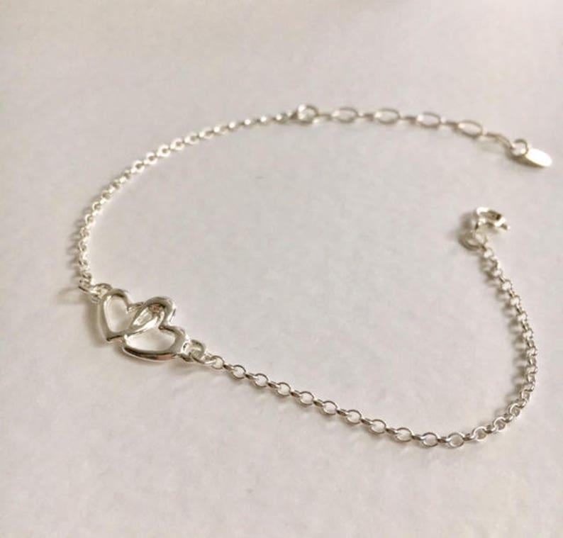 Silver Heart Bracelet Sterling Silver Bracelet Heart Bracelet Double Heart Bracelet Mothers Day Gift Mother/'s Day Gift