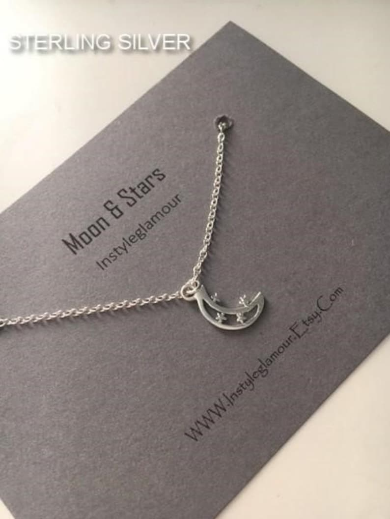 Moon /& Stars Necklace Moon Necklace Crescent Moon Necklace Choker Chain Silver Choker Necklace Mother/'s Day Gift