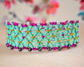 Spring-Summer Lace Macrame Bracelet in Turquoise and Purple Colors with Hematite and peanut Czech Crystal beads, High Quality handcrafted