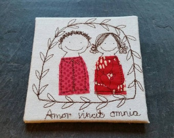Embroidery - Love Conquers All - Amor Vincit Omnia by Justsosara.