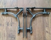 Steampunk Gas Pipe Industrial Style Brackets 1 Pair 7 quot x 7.5 quot Wall Shelf Brackets Cast iron Brackets D I Y Gift