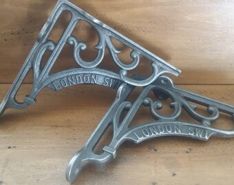2 X Vintage Style London SW1 Wall Shelf Brackets Cast iron Brackets Birthday Gift Shop Display