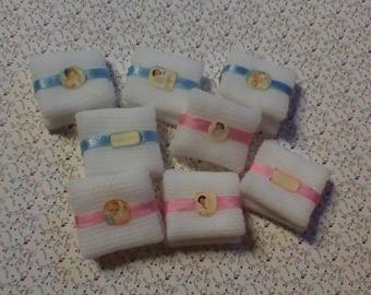 Diaper wrapped pink/light blue un two sizes, dollhouse miniature nursery 1:12