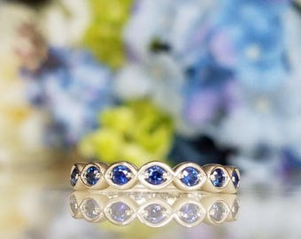 14K White Gold Scalloped Blue Sapphire Halfway Eternity Stackable Ring Engagement Wedding ring