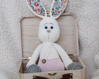 Handmade crochet + wooden suitcase